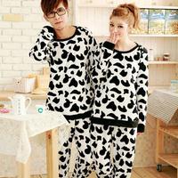 LZ 2013 lovers sleepwear female cotton lounge pajama set long-sleeve cow print autumn and winter warm home wear