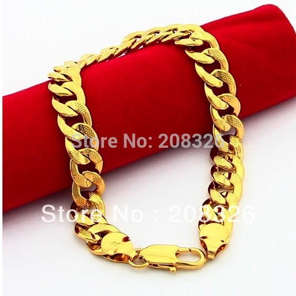 HB17 9mm Cable chain bracelets / men's bracelets 24k gold plated bracelets /bangles for men / men's jewelry(China (Mainland))