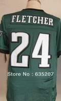 Free Shipping 2013 Elite American Football Jerseys #24 Bradley Fletcher White/Green Men's Shorts Embroidery Sewing logos M-XXXL