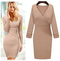 Free Shipping 2013 elegant V neck Knitted dress slim long sleeve sexy knit dress