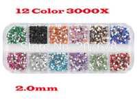 Free Shipping New 3000pcs Mix 12 Color 2.0mm Circle Beads Nail Art Rhinestones Glitters Nail Art Gems