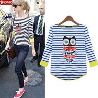 2013 autumn women's fashion cotton long-sleeve 100%  cotton T-shirt female western style basis shirt 2111
