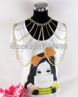 FREE SHIPPING 2014 Fashion Women Multi-layers Punk Pearl Gold Tone Body Chain Slave Harness Necklace Shoulder Jewelry
