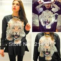 New Woman Girl Cool Tiger Print Round Neck Long Sleeve Blouse Top Shirt Black Free Shipping
