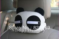 1PCS White Loose Eye Love me  Panda Plush Car Head Neck Rest Pillow Travel Sweet Pillow Gift Home Decoration Decor  (PP Cotton )