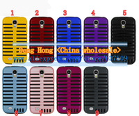 Free shipping Wholesale 100pcs/lot Retro Microphone Design Hybrid PC And Silicone Case Cover for Samsung Galaxy S4 i9500
