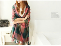 free shipping 2013 classic style plaid scarves lady scarves autumn and winter warm scarf 100% cashmere scarf