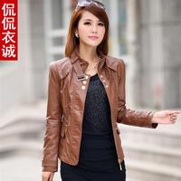 2014 NEW Fashion  women genuine leather Slim-fitting jacket coat women's big size motorcycle short leather jacket coat M-XXXL