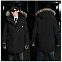 Winter outerwear men's clothing trend medium-long wadded jacket hooded winter coat male winter red fur collar thickening