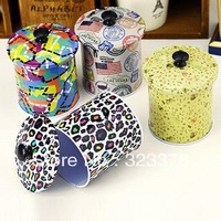 Mini canister leopard print postmarked butterfly caddy candy tea flowering tin box iron round storage box 6.2*8.5cm free ship