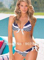 Newest brand women bikini swimsuit sexy striped bikini swimsuit women's swimsuit Free shipping
