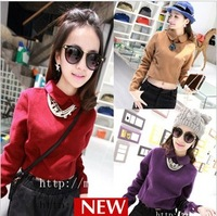 New 2013 brand fashion Vivi  small fresh peter pan preppy style short design woolen top   tshirt woman