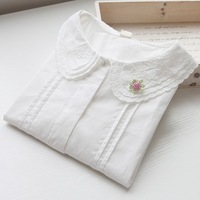 Small fresh embroidered peter pan doll ingot all-match 100% turn-down collar cotton white shirt  tshirt woman
