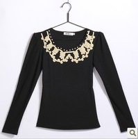 8117 2012 autumn slim solid color t-shirt beading long-sleeve o-neck cotton female 100% basic T-shirt