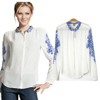 2014 Brand Vintage Fashion Women Long Sleeve Blue And White Porcelain Print Chiffon Tops Shirt Blouse Free shipping 8842