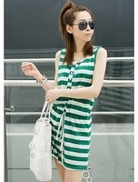 8005 2012 vest stripe tank dress one-piece dress