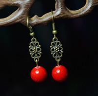 Free Shipping  Handmade bronze  jewelry vintage royal tibetan Tibet silver  drop earring X'mas Gift