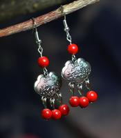 Free Shipping Handmade National trend accessories jewelry 100 longevities lock tibetan Tibet silver drop earring X'mas Gift