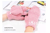 Hot Selling soft super warm utility double function gloves / dual-use flip half refers to computer gloves wholesale