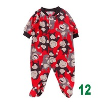 2014 new 1 piece red monkey pattern Carters Soft  Polar Fleece Long Sleeves baby Rompers Unisex cheap with high quality