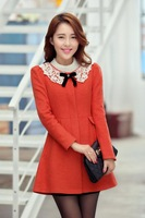 2013 Women's new long section of woolen winter coat woman wool coat Korean Slim wool coat