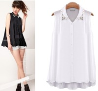 2014 New Arrive Women  Shirt Chiffon Blouse Turn-Down Collar With Beading 825256