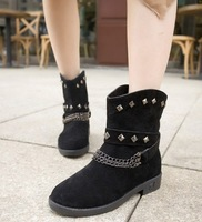 New Arrivals 2013 Autumn-Winter Fashion Women Motorcycle Boots Flat chain Ankle Boots