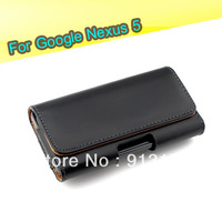 Free Shipping 1Pcs Mobile Phone Bag Holster Belt Clip Flip Leather Case Cover Pouch For LG Google Nexus 5