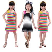 Girls Dresses Children summer stripes loose dress Sleeveless cotton Lovely princess dress children's garments Free shipping