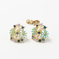 Fashion beautiful cutout small flower beads stud earring