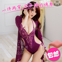 Free shipping Lace transparent sexy milk sleepwear dress women's kimono the temptation to set uniform 9817
