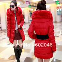 2014 elastic waist belt slim fur collar with a hood zipper thickening down coat down cotton real pictures with 6803 model