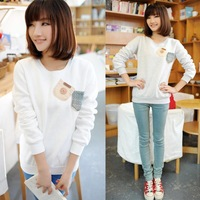 [bunny]double fail pocket with big nice button cotton hoodies women fleece warm sweatshirts 3 colors free shipping