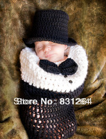 Free shipping newborn baby knitted crochet costume infant baby photography props suits newborn crochet hat photo prop