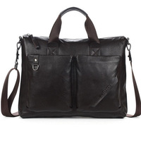 Men's Top Genuine Leather Briefcase Shoulder Purse Messenger Laptop Tote Handbag 14""