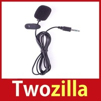 [Twozilla] 3.5MM Hands Free Plug Clip On Mini Lapel Microphone For Computer PC Laptop Black Hot