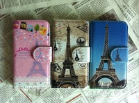 Retail selling For Samsung i9000 galaxy s Paris eiffel Tower Paris Building Whole Leather Cover Case Skin