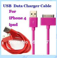 100PCS 1M Colorful USB Sync Data Cord Flat Slim Charger Cable for iPhone 4 4S 4GS iPad