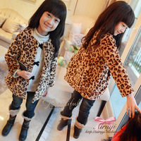 childern outerwear 2013 autumn and winter clothing girls fashion leopard print single breasted cotton-padded overcoat outerwear