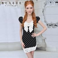 Polka dot one-piece dress 2013 new arrival female slim ruffle hem white bow short-sleeve u