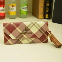 2013 women's long design ultra-thin wallet bear plaid stripe tassel purse card holder