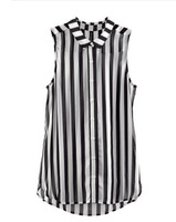 High Quality 2013 Fashion Women Chiffon Vertical Stripes Zebra T-shirt Blouse Sleeveless Tank Top White Wholesale Hot Sale