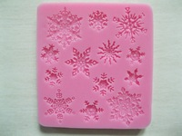 Free Shipping 1Pcs Various shapes of Snowflakes 3D silicone cake fondant decoration mold tools