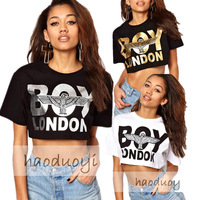 Woman Hip-hop Cropped Top Boy London T shirt black and white