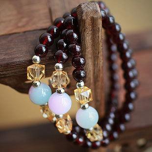 Thai Buddha brand synthetic garnet crystal bracelet multi -color beads bracelets jewelry transporter(China (Mainland))