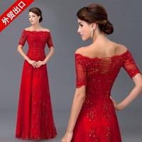 2013 bride evening dress formal dress red lace slit neckline fashion married long design formal dress
