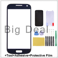 Blue Outer glass lens replacement for Samsung Galaxy S4 mini i9190 + free tools +adhesive +protective film Free shipping