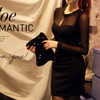 Free Shipping Hollow Out Sexy Elegant Black Long-sleeve Slim Gauze SEXY V Hip Slim One-piece dress For Party And PUB