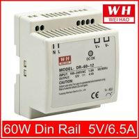 (DR-60-5) 85-264VAC input 5V DC 60W din-rail switch power supply