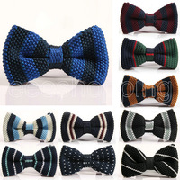 PS136 Fashion Leisure Men Simple Stylish Knitted Striped Bow Ties Colorful Normal Party Unique Tuxedo Lace-up Neckties Neckwears